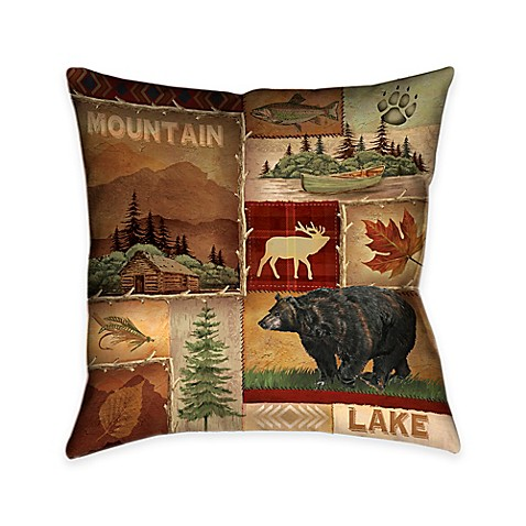 Throw Pillows Meaning : Buy Laural Home Lodge Collage I Square Throw Pillow from Bed Bath & Beyond