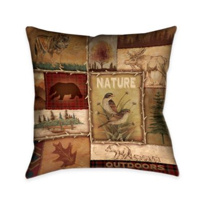 Laural Home® Lodge Collage II Square Throw Pillow
