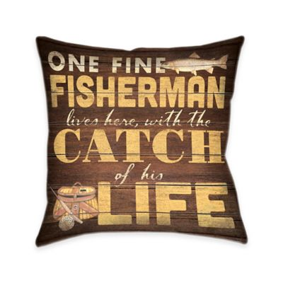 "Laural Home ""Fine Fisherman..."" Reversible Throw Pillow"