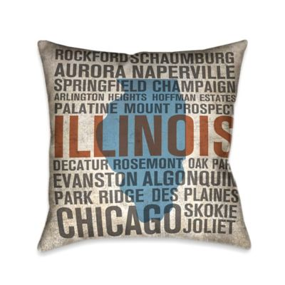 Laural Home® State Illinois Square Throw Pillow