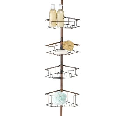 Oil-Rubbed Tension Pole Shower Caddy in Bronze