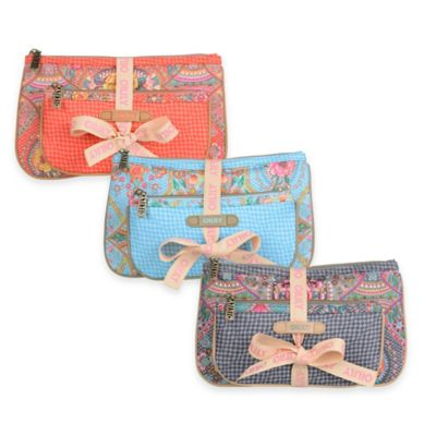 Oilily® Fun Paisley 2-Piece Flat Cosmetic Bag Package in Coral