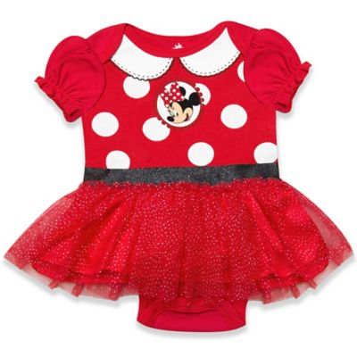 Disney® Minnie Size 3-6M Bodysuit Dress with Glitter Mesh Skirt