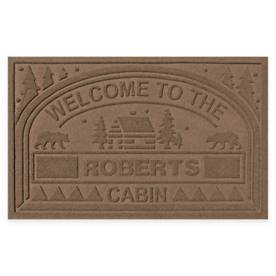 "Weather Guard™ ""Welcome to the Cabin"" 23-Inch x 36-Inch Door Mat in Dark Brown"