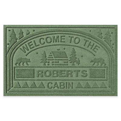"Weather Guard™ ""Welcome to the Cabin"" 23-Inch x 36-Inch Door Mat in Light Green"