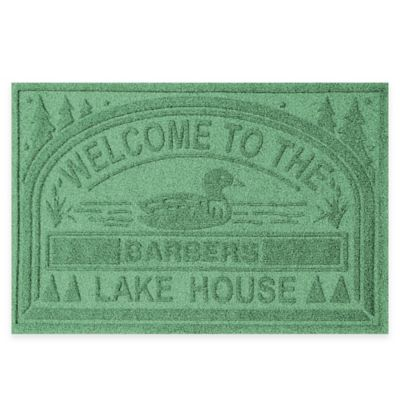 "Weather Guard™ ""Welcome to the Lake House"" 30-Inch x 45-Inch Door Mat in Light Green"