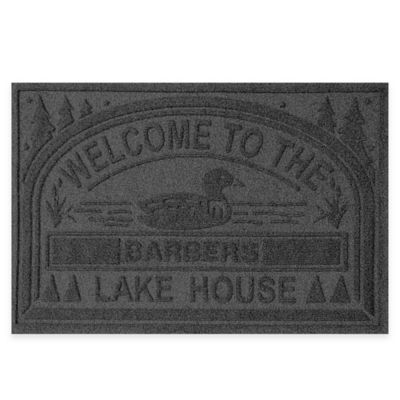 "Weather Guard™ ""Welcome to the Lake House"" 30-Inch x 45-Inch Door Mat in Charcoal"