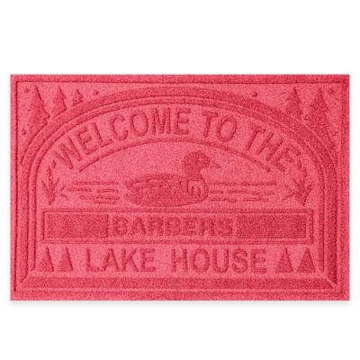 "Weather Guard™ ""Welcome to the Lake House"" 30-Inch x 45-Inch Door Mat in Red"