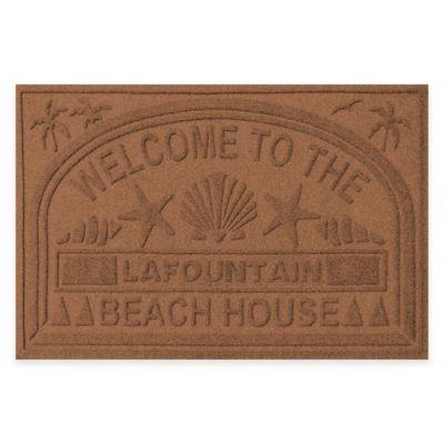 "Weather Guard™ ""Welcome to the Beach House"" 30-Inch x 45-Inch Door Mat in Dark Brown"