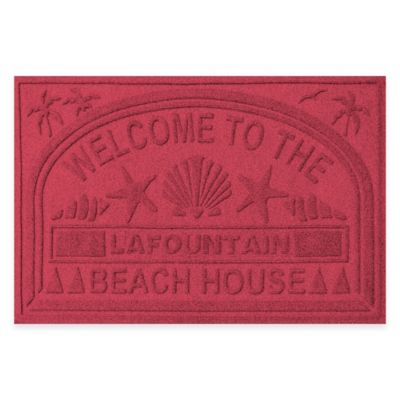 "Weather Guard™ ""Welcome to the Beach House"" 30-Inch x 45-Inch Door Mat in Red/Black"