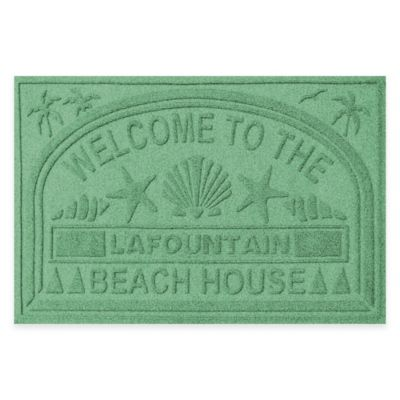 "Weather Guard™ ""Welcome to the Beach House"" 30-Inch x 45-Inch Door Mat in Light Green"