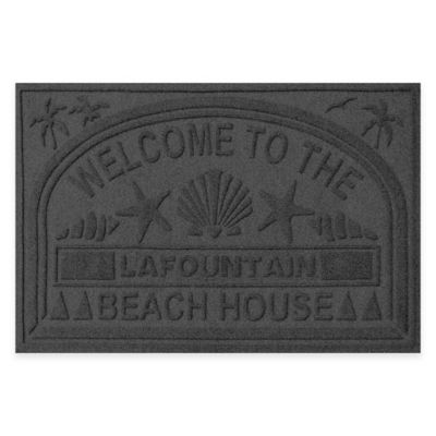 "Weather Guard™ ""Welcome to the Beach House"" 30-Inch x 45-Inch Door Mat in Charcoal"