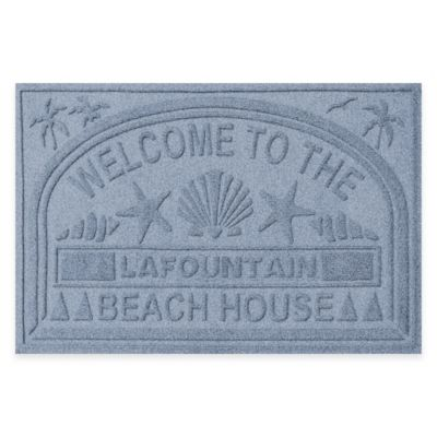 "Weather Guard™ ""Welcome to the Beach House"" 30-Inch x 45-Inch Door Mat in Blue Stone"