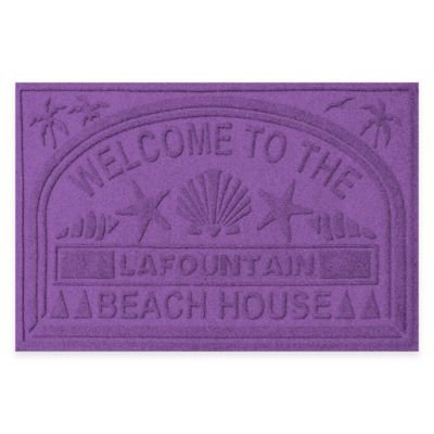 "Weather Guard™ ""Welcome to the Beach House"" 30-Inch x 45-Inch Door Mat in Purple"