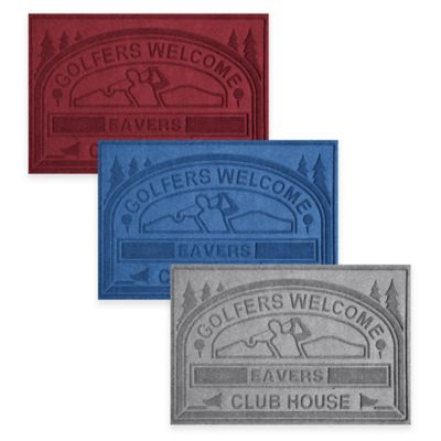 "Weather Guard™ ""Club House: Golfers Welcome"" 30-Inch x 45-Inch Door Mat in Charcoal"