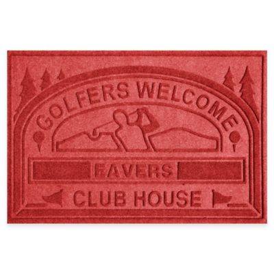 "Weather Guard™ ""Club House: Golfers Welcome"" 30-Inch x 45-Inch Door Mat in Red"