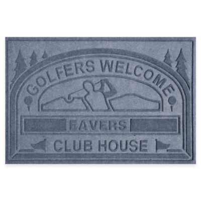 "Weather Guard™ ""Club House: Golfers Welcome"" 30-Inch x 45-Inch Door Mat in Blue Stone"