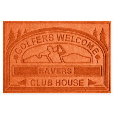 "Weather Guard™ ""Club House: Golfers Welcome"" 30-Inch x 45-Inch Door Mat in Orange"