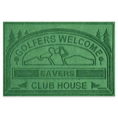 "Weather Guard™ ""Club House: Golfers Welcome"" 30-Inch x 45-Inch Door Mat in Light Green"