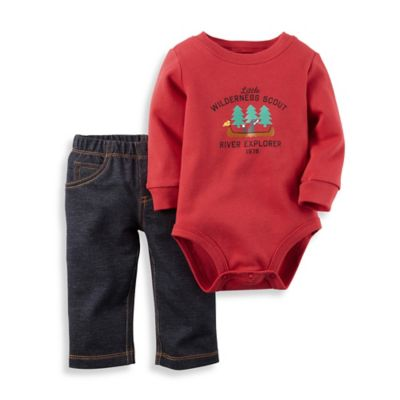 "Carter's® Newborn 2-Piece ""Little Wilderness Scout"" Bodysuit and Pant Set in Red/Blue"