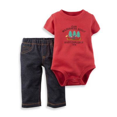 "Carter's® Size 3M 2-Piece ""Little Wilderness Scout"" Bodysuit and Pant Set in Red/Blue"