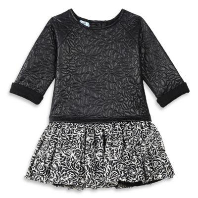 Pippa & Julie™ Size 12M Faux Leather Long-Sleeve Drop-Waist Dress in Black