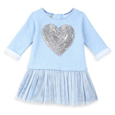 Pippa & Julie™ Size 12M Heart Sequined Long-Sleeve Sweatshirt Tutu Dress in Blue