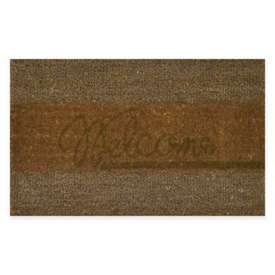 "Nature by Geo Crafts Coir/Seagrass Creel ""Welcome"" 18-Inch x 30-Inch Door Mat in Brown"