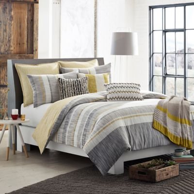 KAS ROOM Logan King Duvet Cover in Grey/Yellow
