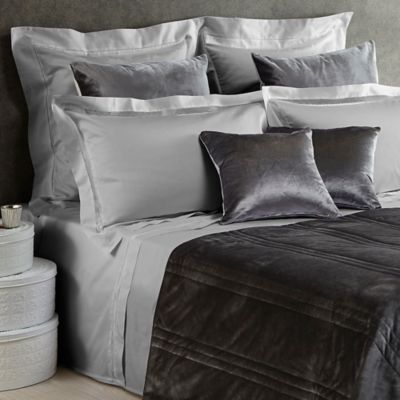 Frette At Home Tiber Lace Queen Sheet Set in Grey