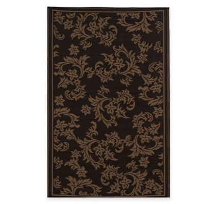Fab Habitat Versailles 5-Foot x 8-Foot Indoor/Outdoor Area Rug in Chocolate Brown/Tan