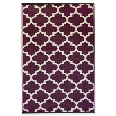 Fab Habitat Tangier Trellis 5-Foot x 8-Foot Indoor/Outdoor Rug in Plum & White