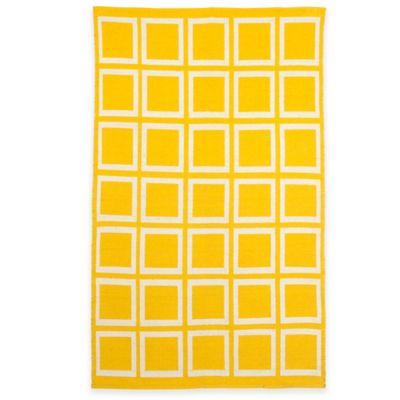 Fab Habitat Sunny 2-Foot x 3-Foot Indoor/Outdoor Accent Rug in Mimosa/Bright White