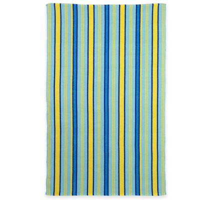 Fab Habitat Serene Indoor/Outdoor Rug in Heritage Blue & Lemon Drop