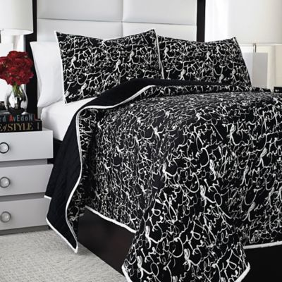 Vince Camuto Lucerne King Coverlet in Black/White