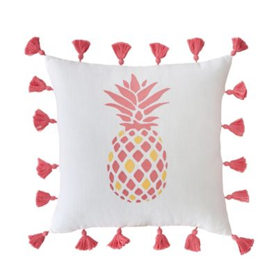 Southern Tide® Coastal Ikat Pineapple Square Throw Pillow in White