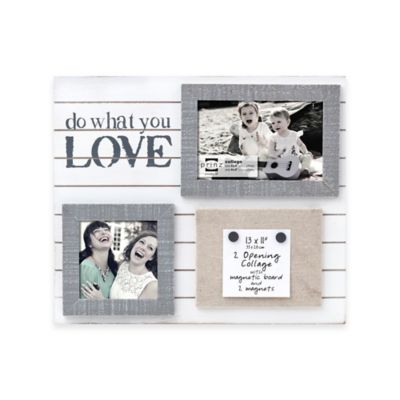 "Prinz Sweet Water 2-Photo ""Do What You Love"" Wood Frame with Magnets in White"