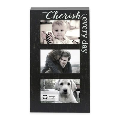 "Prinz Sweet Water 3-Photo ""Cherish Every Day"" Wood Plaque Frame in Black"