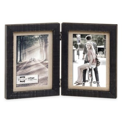 Prinz Sweet Water 2-Photo 4-Inch x 6-Inch Linen Mat Hinged Wood Frame in Black