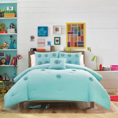 Teen Vogue® Monica 2-Piece Reversible Twin Comforter Set in Aqua