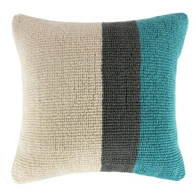KAS ROOM Annelie Hunter Square Throw Pillow in Aqua