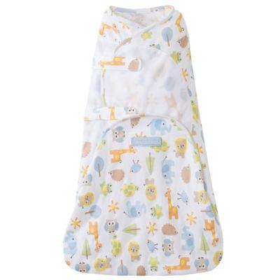 HALO® Newborn SwaddleSure™ Animal Print Cotton Adjustable Swaddling Pouch in White/Multicolor