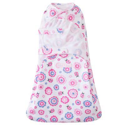 HALO® SwaddleSure™ Newborn Flower Cotton Adjustable Swaddling Pouch in White/Pink