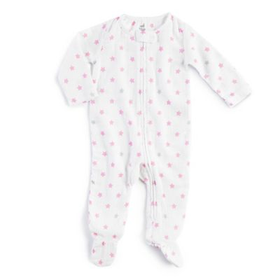 aden® by aden + anais® Zip-Front Darling Glow Muslin Footie in White//Pink