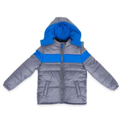 iXtreme Size 3T Stamp Print Quilted Puffer Jacket in Grey/Blue
