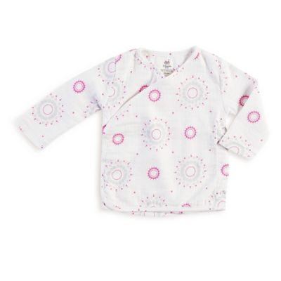 aden by aden + anais Size 0-3M Long Sleeve Darling Burst Muslin Kimono Top in White//Pink