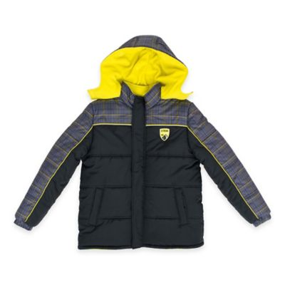 iXtreme Size 18M Tonal Plaid and Solid Quilted Puffer Jacket in Black/Yellow