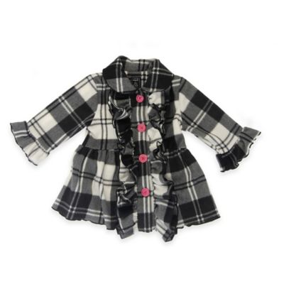 Mack & Co. Size 18M Ruffle Front Fleece Coat in Black/White Plaid