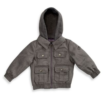 iXtreme Size 2T Faux Wool Hooded Jacket in Grey