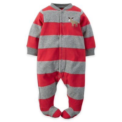 carter's® Size 3M Moose Striped Snap-Front Fleece Footie in Grey/Red